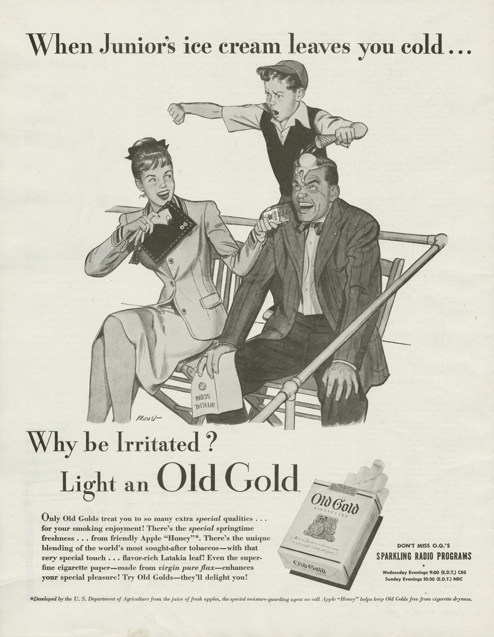 Dorothy Monet, Print ad for Old Gold Cigarettes. Collier's Magazine. June 29, 1946.