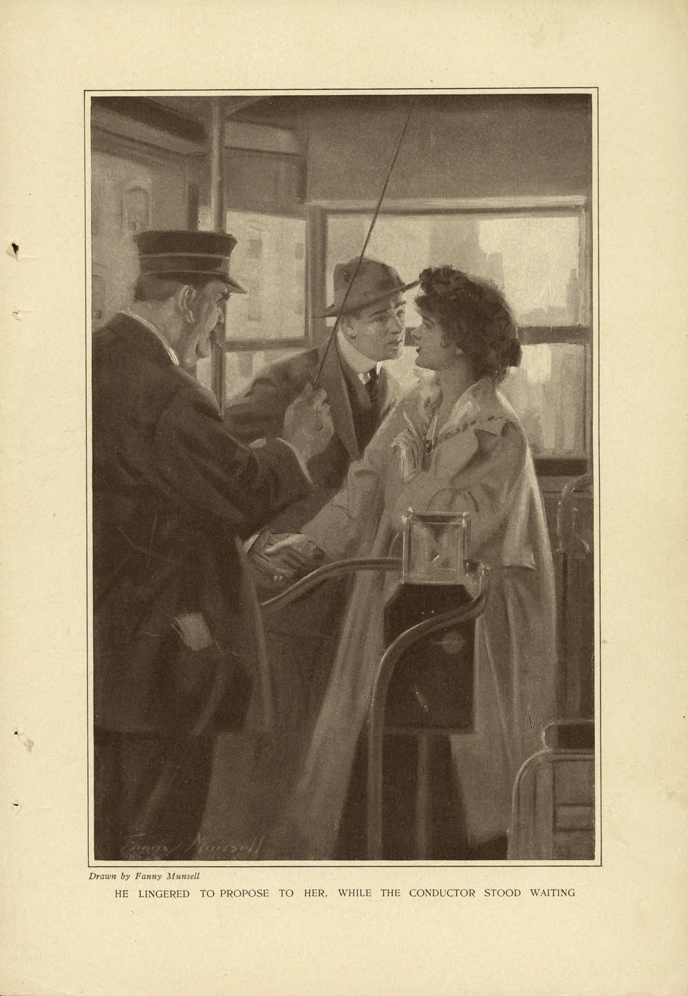 "Fanny Munsell, ""He Lingered to Propose to Her, While the Conductor Stood Waiting"".  Harper's Monthly Magazine . S  tory illustration for ""Young Love,"" by Elizabeth Jordan  .   Harper's Monthly Magazine  . January   1915."
