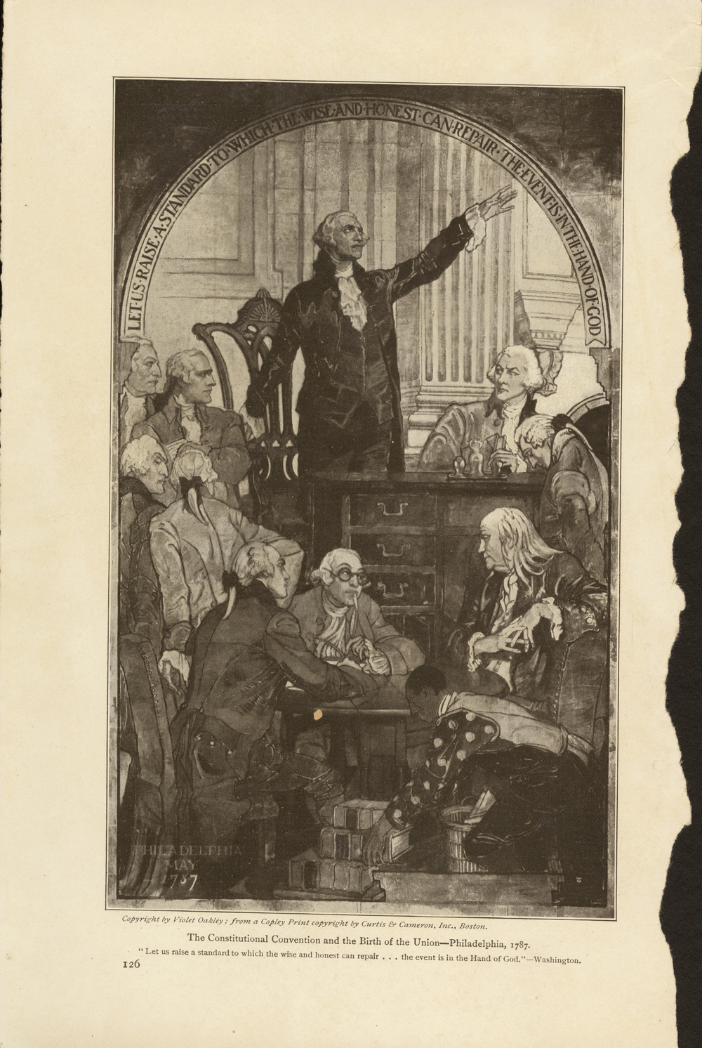 Violet Oakley, T he Constitutional Convention and the Birth of the Union . Senate Murals, Pennsylvania Capitol Building. Dedicated in 1917.   The images shown here were torn from a promotional booklet published by the State of Pennsylvania about Oakley's murals.