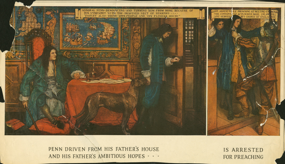Violet Oakley,  Penn Driven from his Father's House and his Father's Ambitious Hopes is Arrested for Preaching . Reception room murals, Pennsylvania Capitol Building. Unveiled in 1906.
