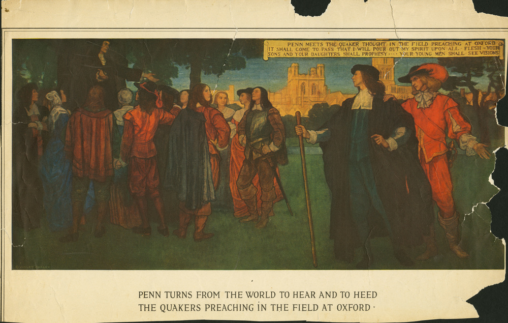 Violet Oakley,  Penn Turns from the World to Hear and to Heed the Quakers Preaching in the Field at Oxford . Reception room murals, Pennsylvania Capitol Building. Unveiled in 1906.