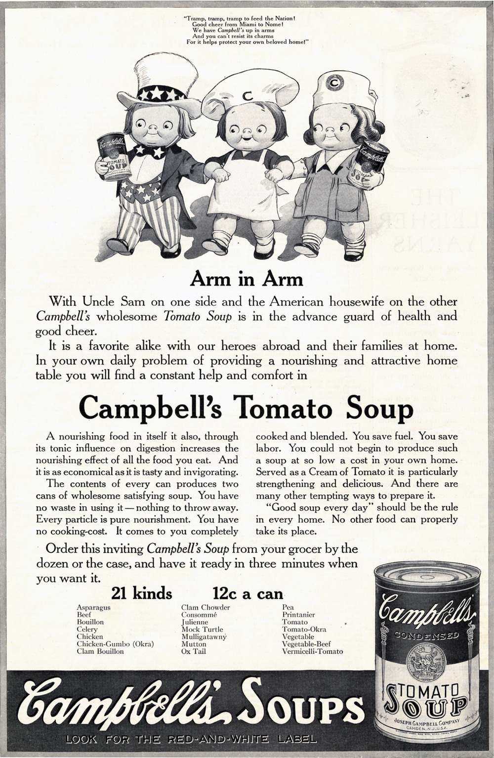 Grace Drayton, Print ad for Campbell's Tomato Soup.  Ladies Home Journal . January 1919.
