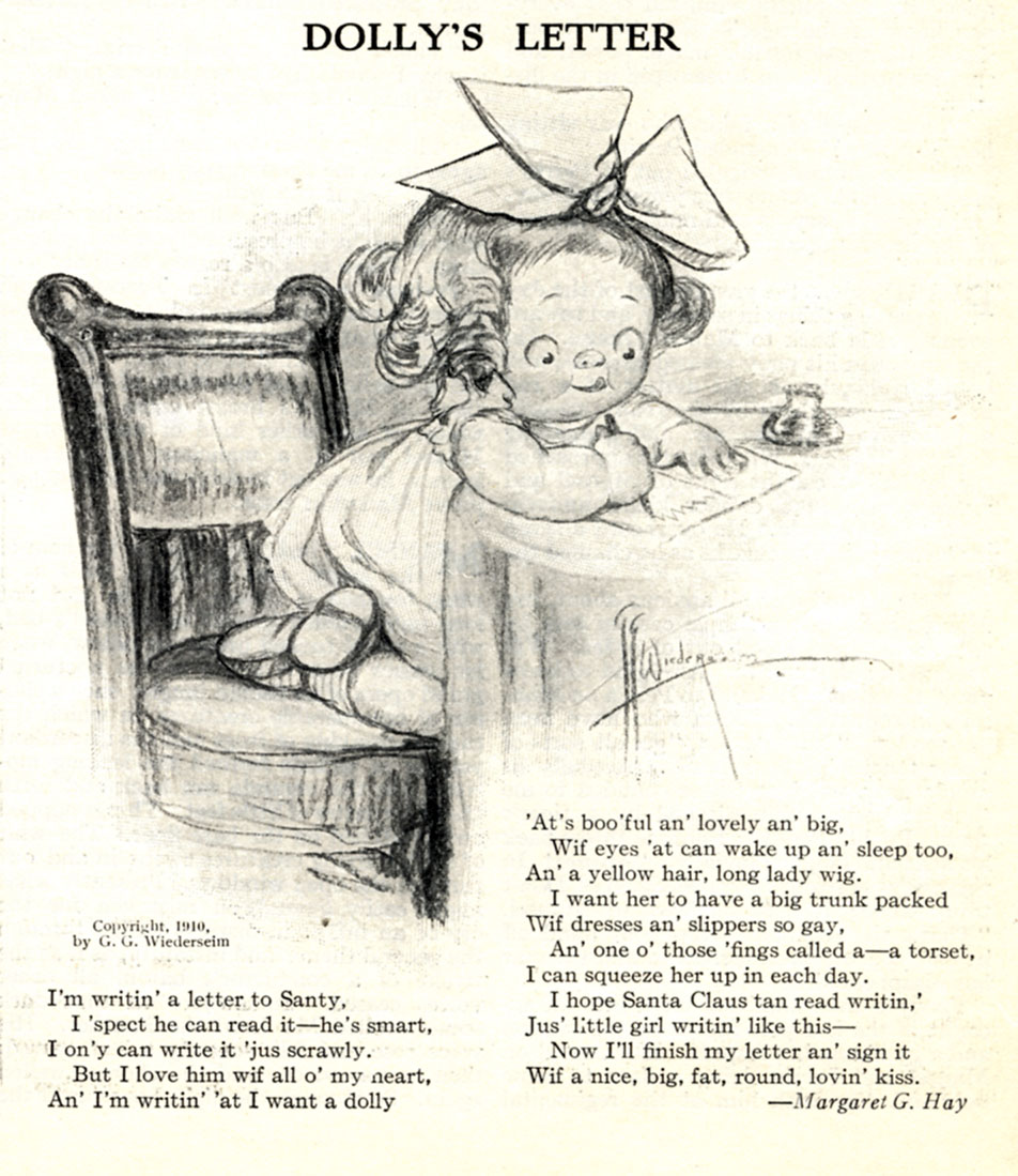 "Grace Drayton, ""Dolly's Letter"" by Margaret G. Hay. Poem illustration.  Sunday Magazine . December 11, 1910."