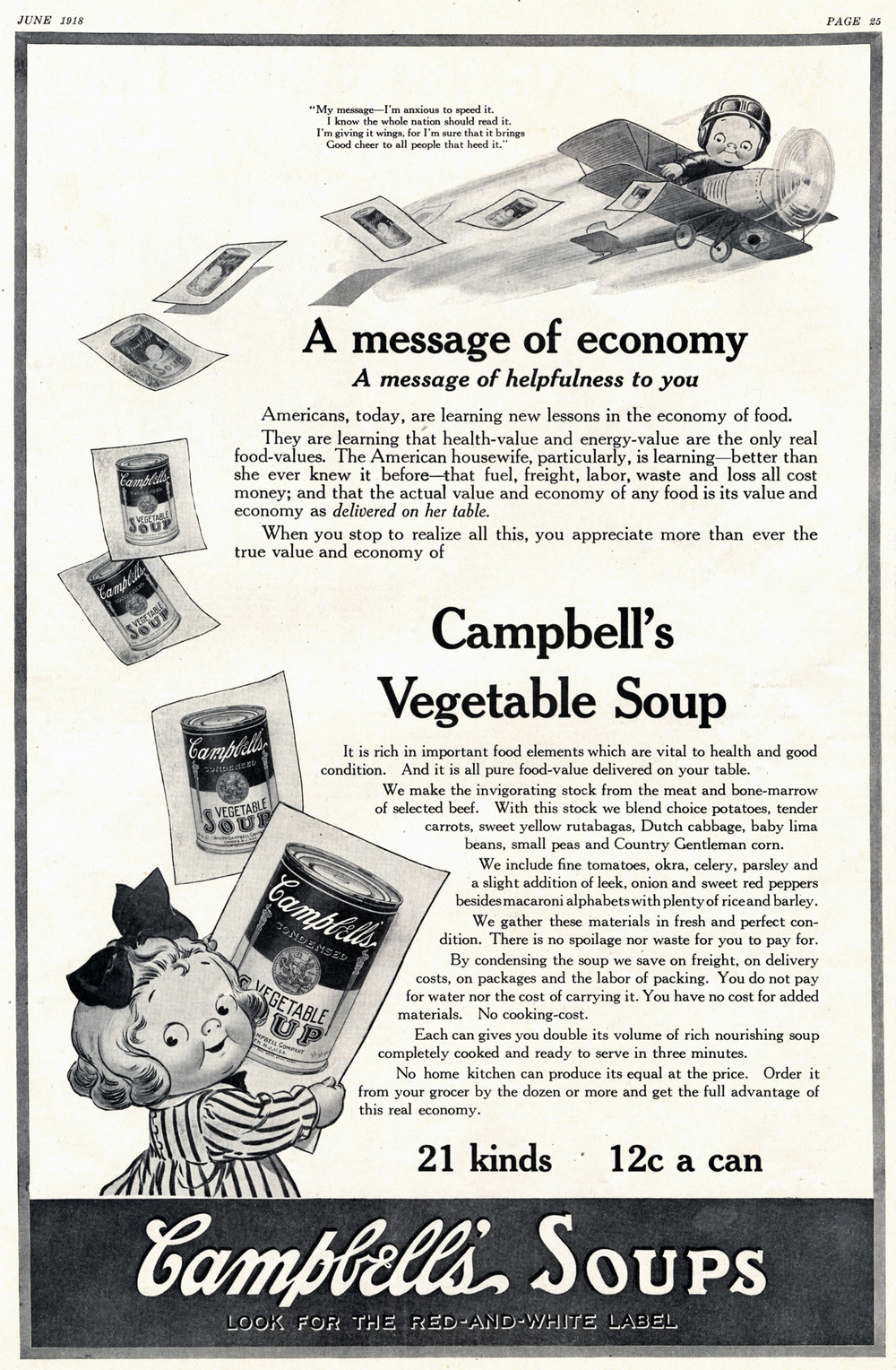Grace Drayton, print ad for Campbell's Vegetable Soup. Unknown publication. June 1918.