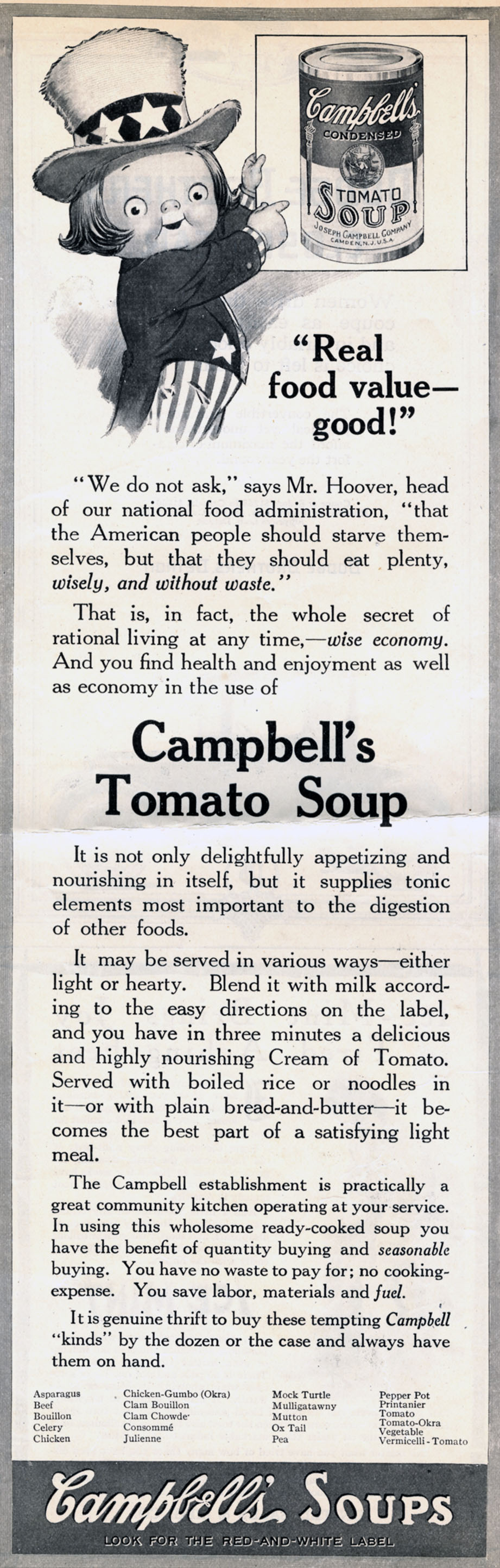 Grace Drayton, print ad for Campbell's Tomato Soup. Unknown publication. 1920.