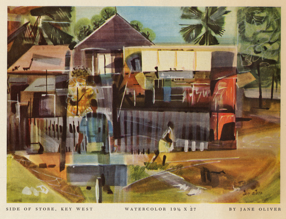 "Jane Oliver, ""Side of Store, Key West"". Watercolor.  American Artist Magazine . January 1957."