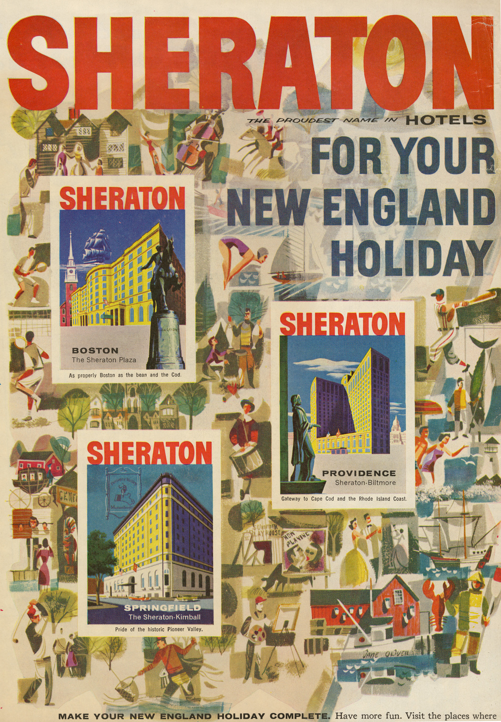 Jane Oliver, Print ad for Sheraton Hotels.