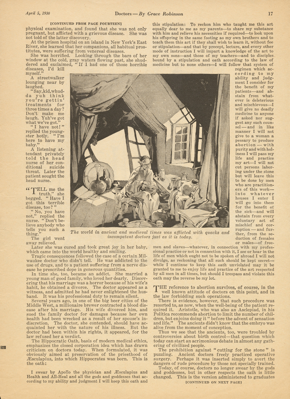 "Clara Elsene Peck, ""Doctors"". Written by Grace Robinson.  Liberty Magazine . April 5, 1930."