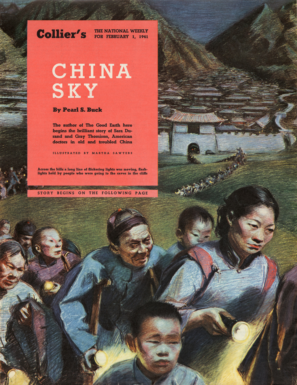 "Martha Sawyers, ""China Sky"". Written by Pearl S. Buck. Colliers Magazine. February 1941."