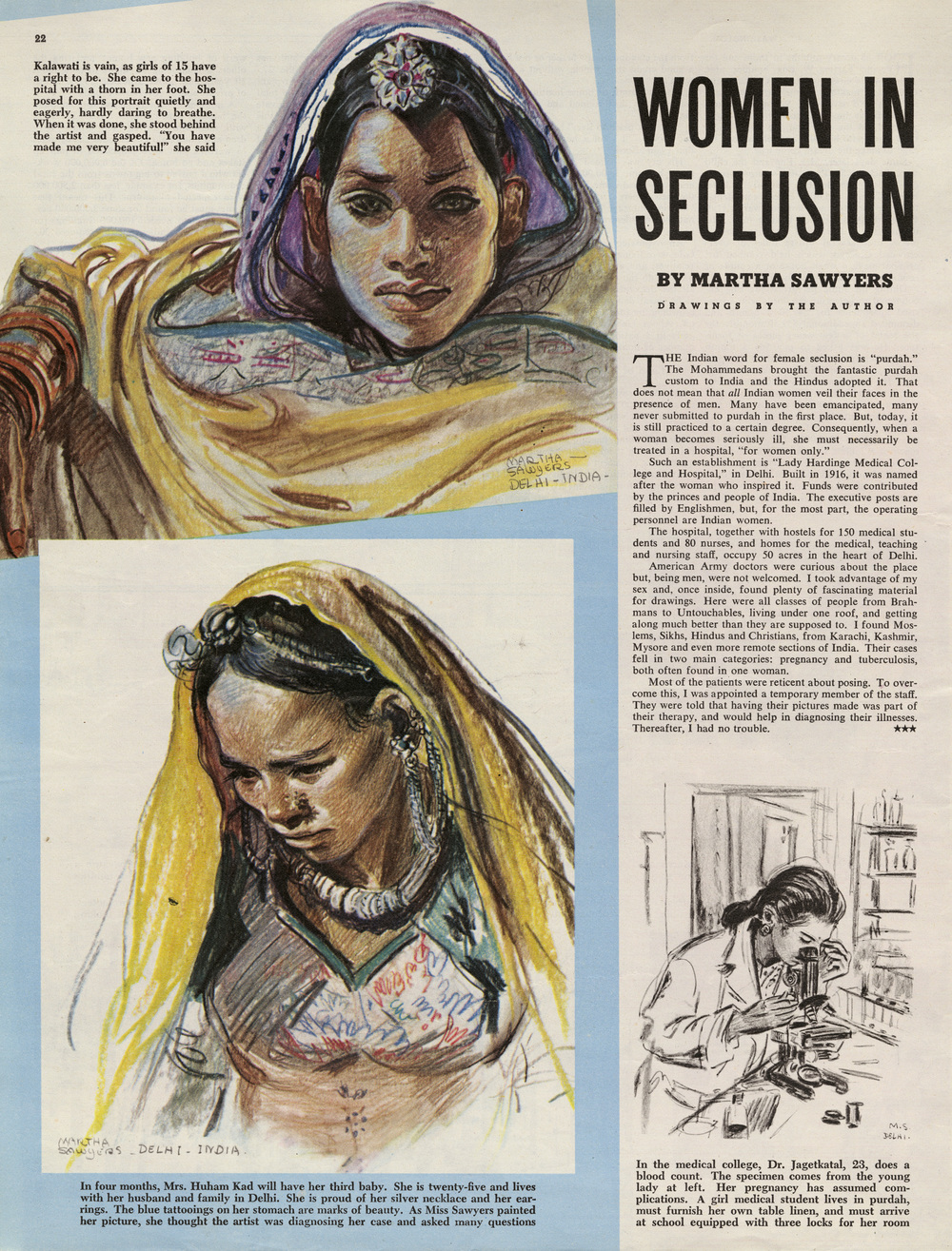 "Written and illustrated by Martha Sawyers, ""Women in Seclusion"". Colliers Magazine. February 1946."