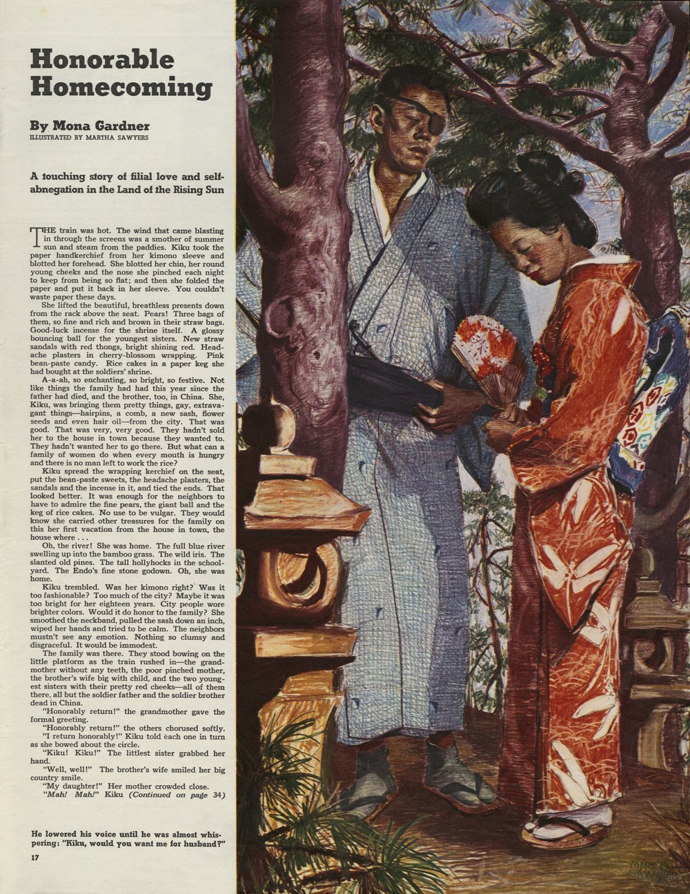"Martha Sawyers, ""Honorable Homecoming"". Written by Mona Gardner. Colliers Magazine. June 1941."
