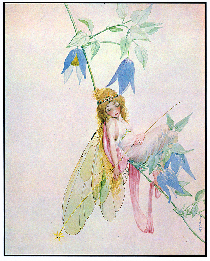 "FY Cory, another piece from ""Fairy Series"". Watercolor painting. 1930. It was later accompanied by text in the Fairy Alphabet Book: ""Q is for Queen / Asleep in her bower/ Which is made by the shade/ Of a clematis flower."""