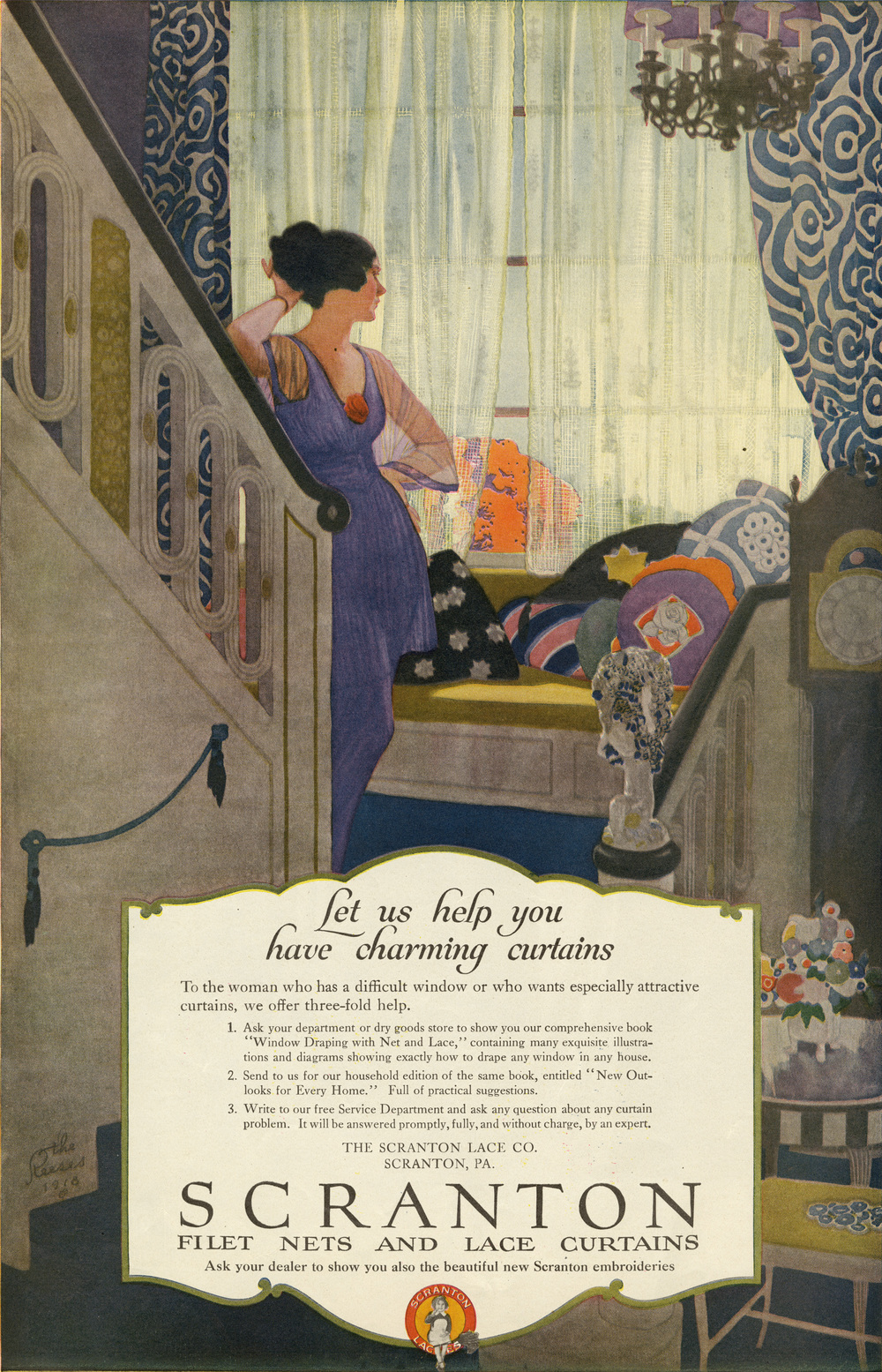 The Reeses, Print ad for Scranton filet nets and lace curtains. Ladies Home Journal. October 1918.