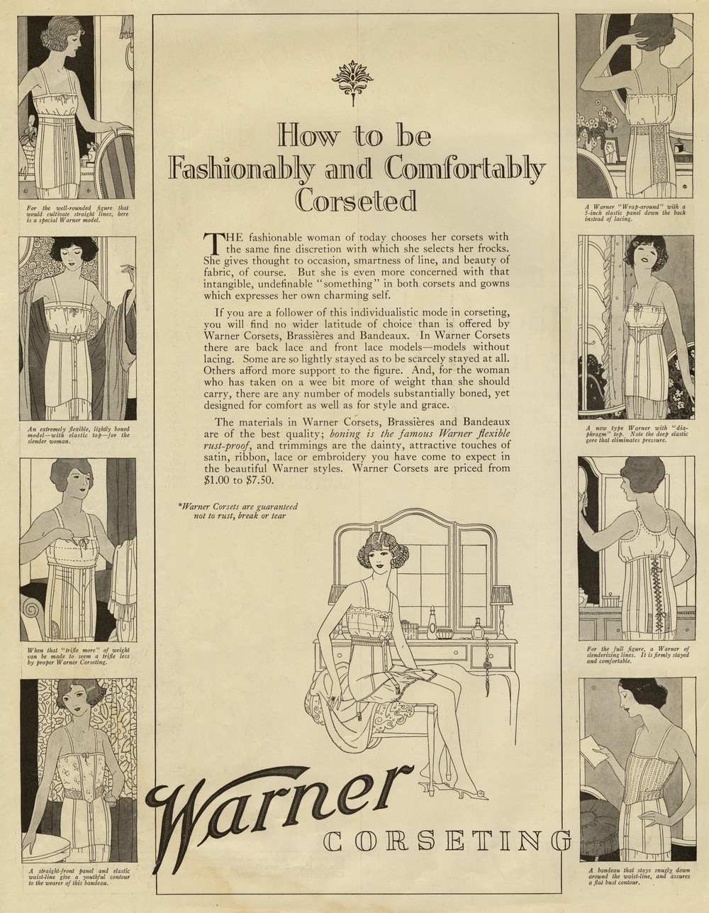 The Reeses, Print ad for Warner Corseting. Ladies Home Journal. October 1922.