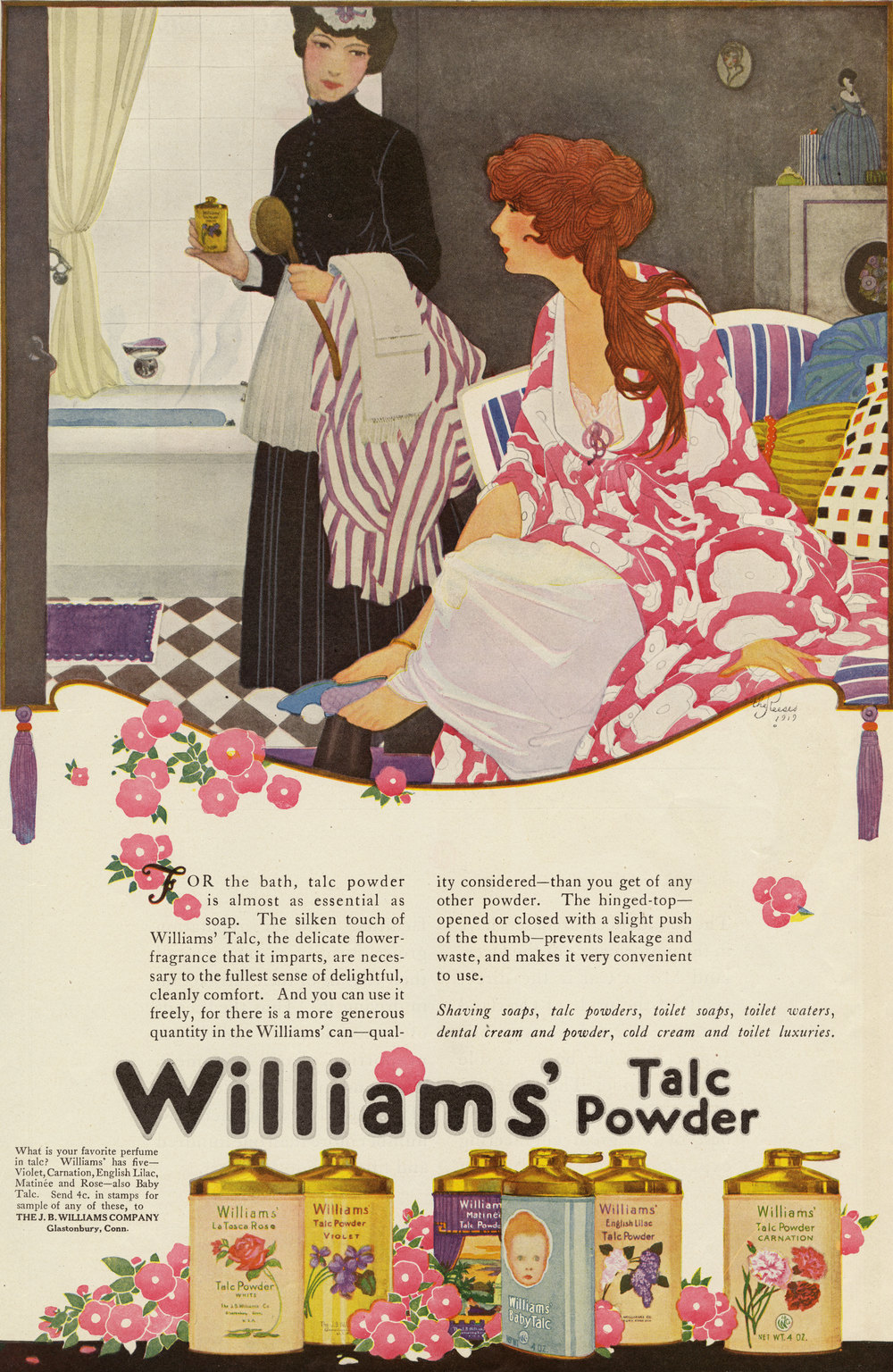 The Reeses, Print ad for Williams' Talc Powder. Ladies Home Journal. May 1919.