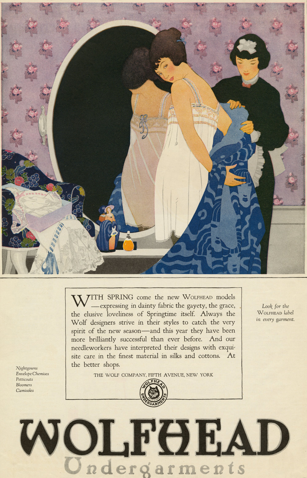 The Reeses, Print ad for Wolfhead Undergarments. Ladies Home Journal. March 1920.