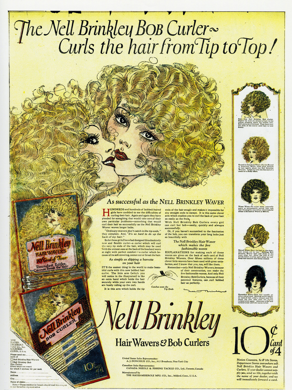 Nell Brinkley, print ad for the Nell Brinkley Bob Curler.