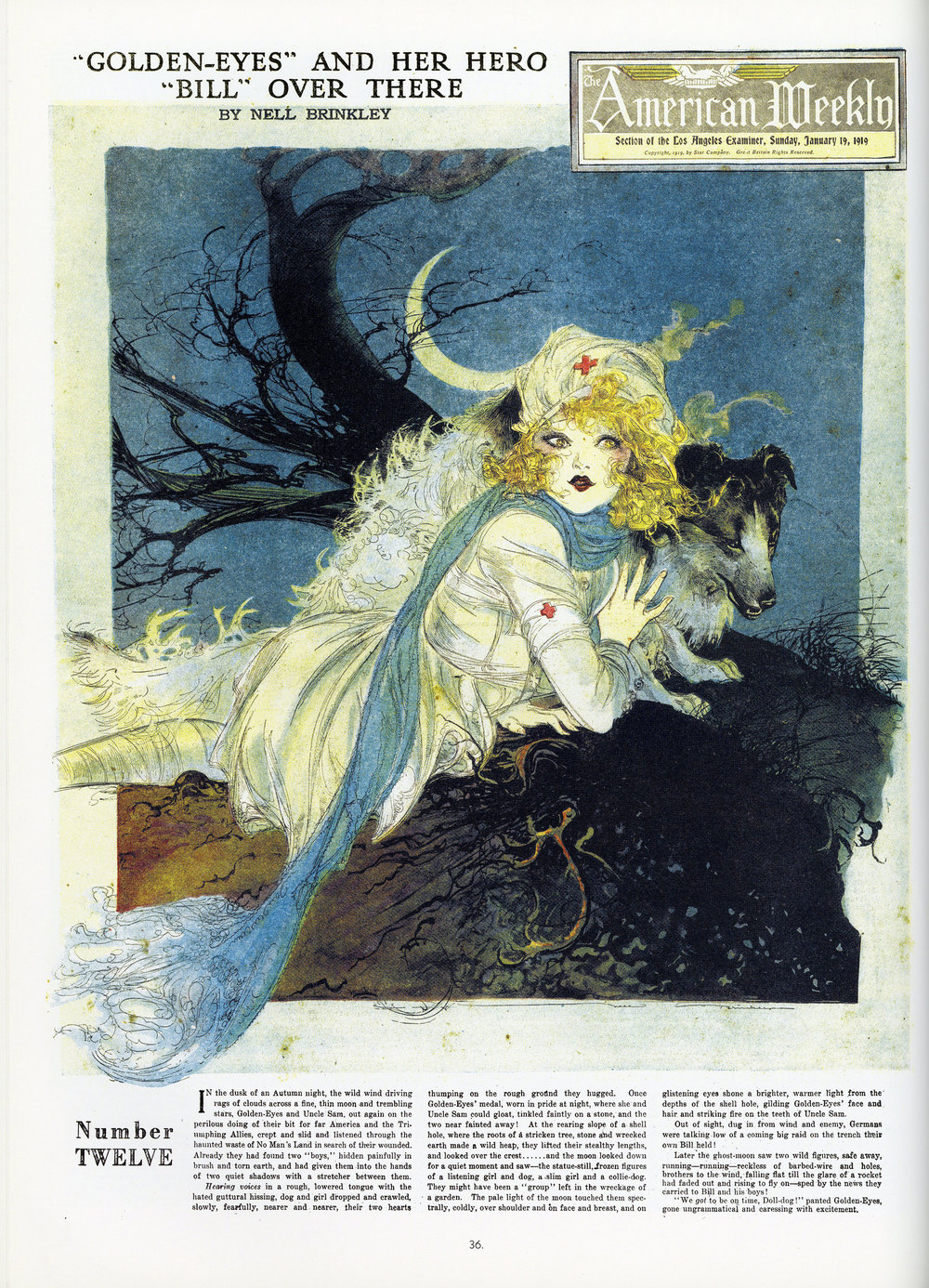 "Nell Brinkley, ""Golden Eyes and Her Hero Bill Over There"". Cover of the  American Weekly  supplement within the Los Angeles Examiner. January 19, 1919."