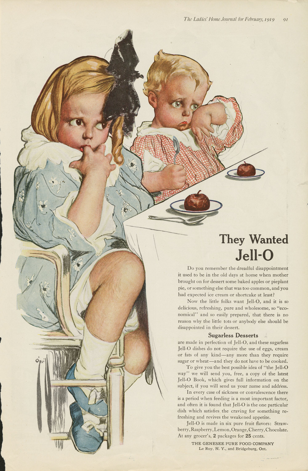 Rose O'Neill, Jell-O ad in the  Ladies Home Journal . February 1919.