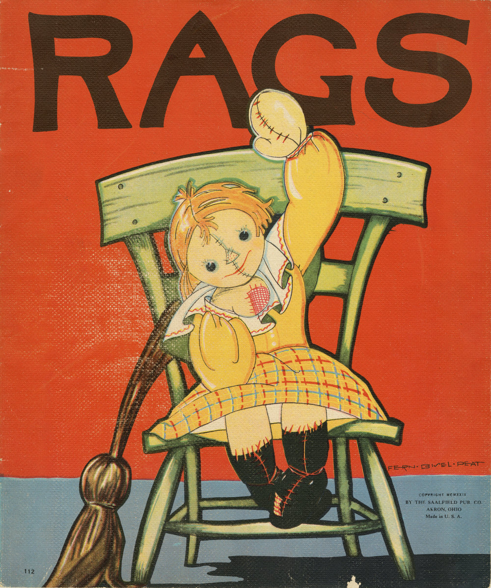 Fern Bisel Peat, cover illustration for  Rags.  Published by Saalfield Publishing Company in 1929. In a sort of proto-Toy Story tale, the doll Rags interacts with other toys and playthings. The stitchery on her face falls short of charmingly handmade, and feels a bit Frankensteinian.