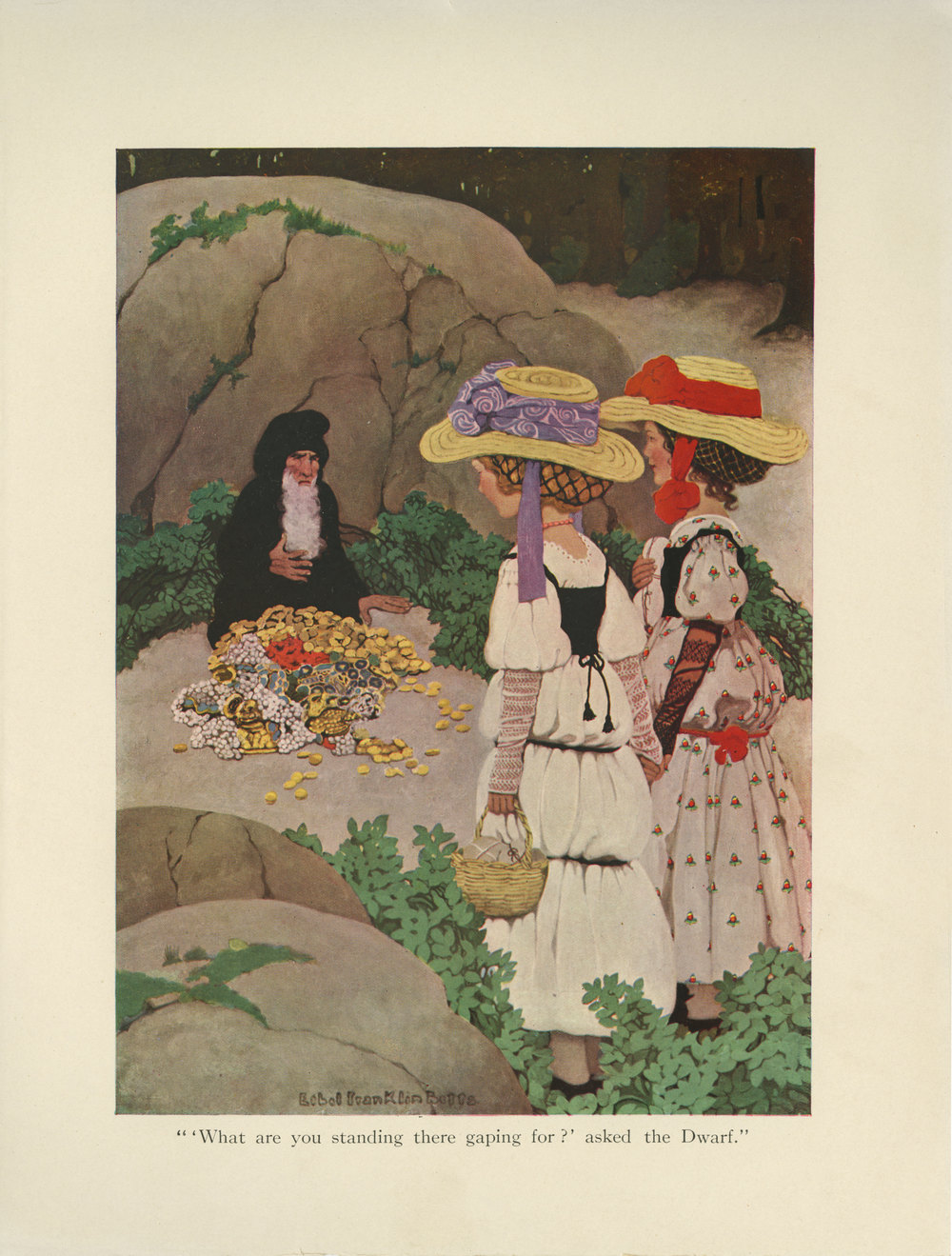 "Ethel Franklin Betts, color illustration of ""Snow-White and Rose-Red"" from Fairy Tales from Grimm. Edited with an intro written by Hamilton W. Mabie. Published in 1909 by Edw. Stern & Co. Inc."