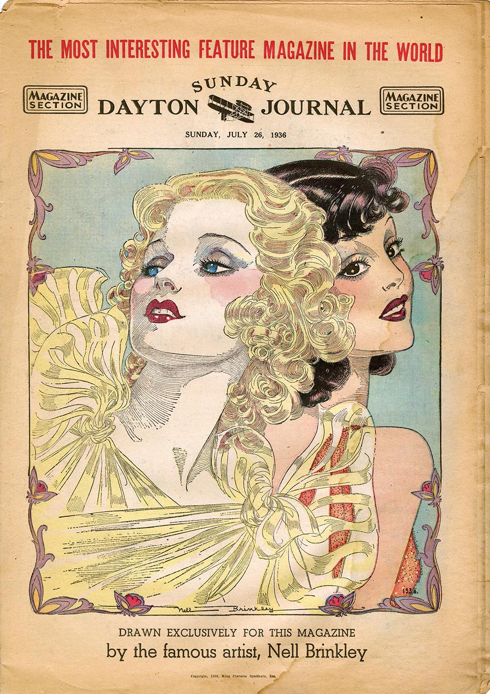 Nell Brinkley, cover for the  Sunday Dayton Journal.  July 26, 1936.