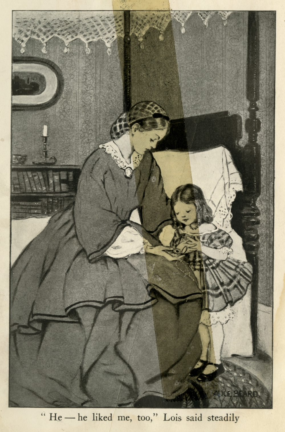 Alice Beard, frontispiece in the novel Elizabeth Bess, by E.C. Scott. Published The Macmillan Company, 1917.
