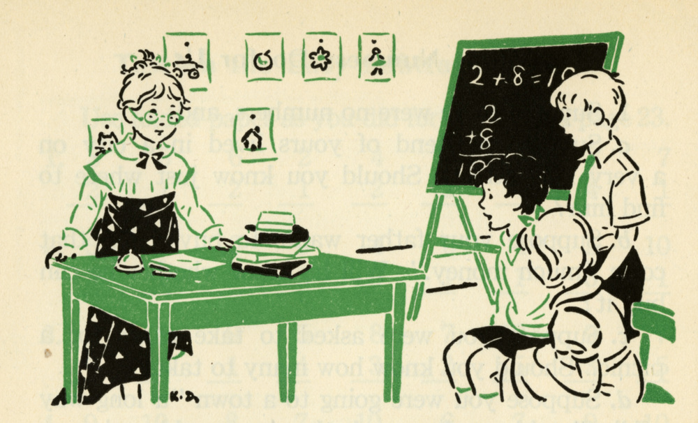 Kay Draper, Living Arithmetic: Grade 3. Written by Guy T. Buswell and Lenore Joh. The book also contains illustrations by artists Herbert Paus, Florence Heyn, and George van Werveke. Published by Ginn & Co. These images were scanned from the 1947 edition. The book was first published in 1938, and I believe that the illustrations would have been executed for the first printing. Herbert Paus was doing Collier's covers in the late 1930s, and his work for Buswell and Joh's book consisted of fully modeled genre scenes in color and black and white. Draper's efforts, by contrast, were limited to these one- and two-color images that ran atop pages; such images provide visual breaks, but are sometimes referred to as decorations, a gendered term.