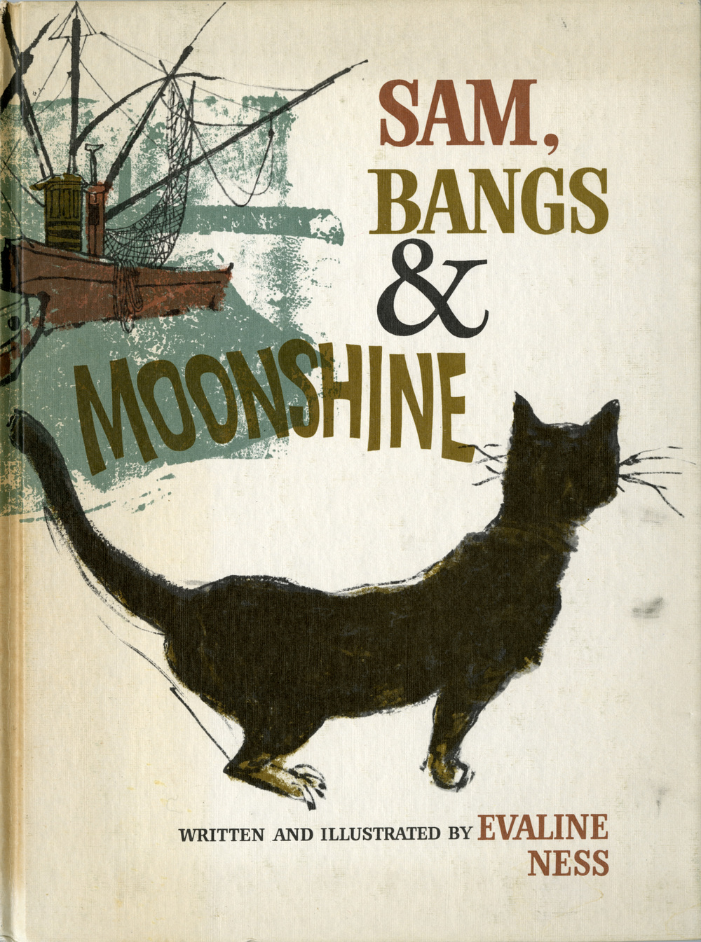 Evaline Ness, cover illustration for Sam, Bangs & Moonshine. After three consecutive years of runner-up-dom, earning Caldecott Honor status (1963-1965), Ness won the Caldecott Prize with this book in 1966.  Published by Holt, Rinehart and Winston, 1966.