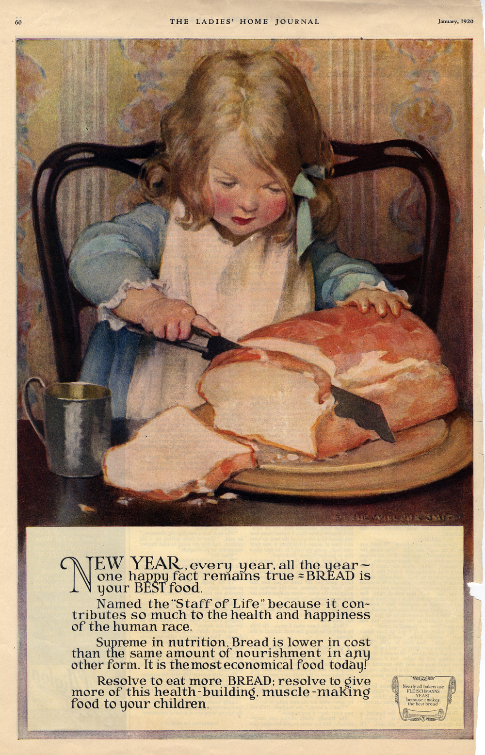Jessie Wilcox Smith, print advertisement for Fleischmann's Yeast in the  Ladies Home Journal . January 1920.