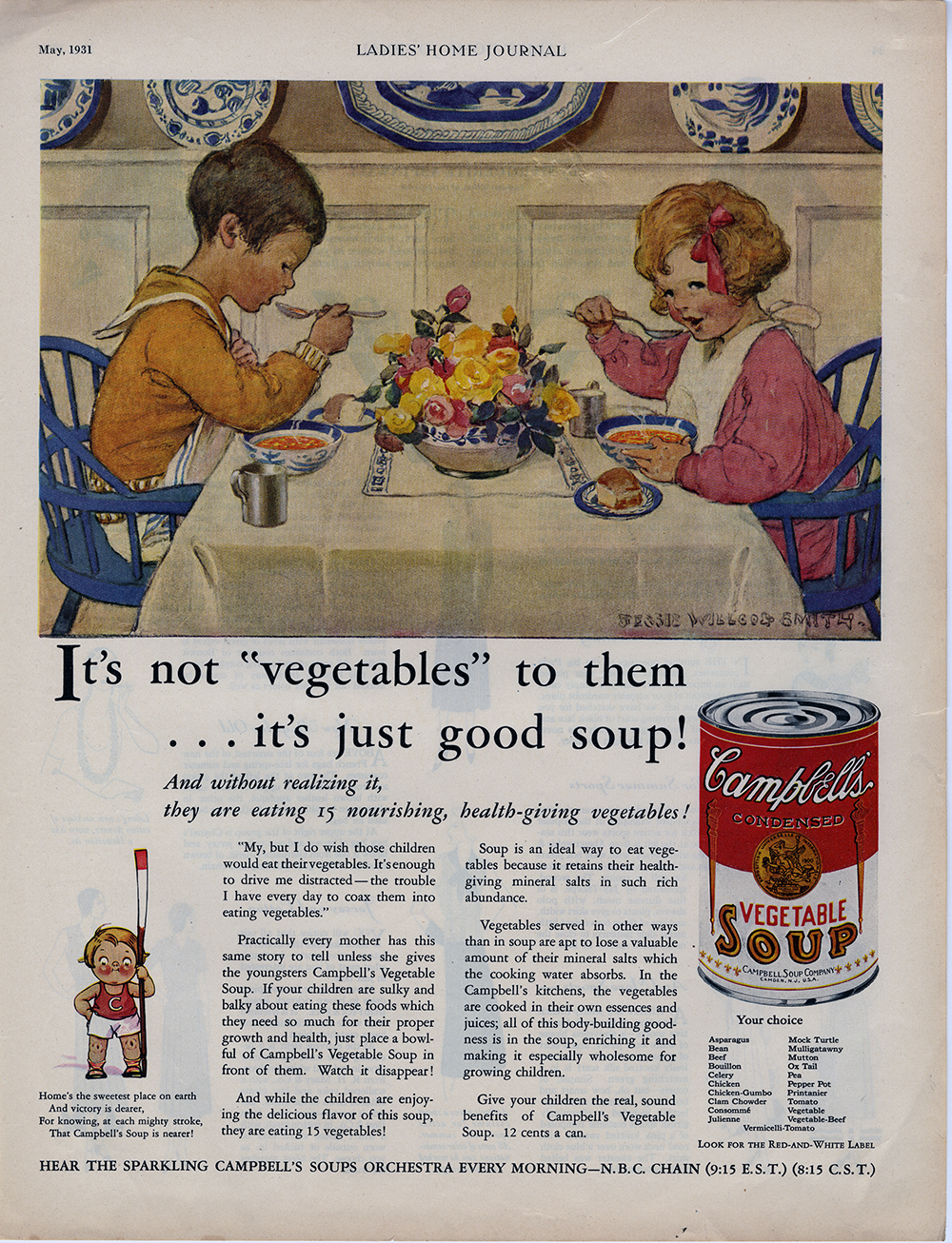 Jessie Wilcox Smith, print ad for Campbell's Vegetable Soup, found in  Ladies Home Journal . May 1931.