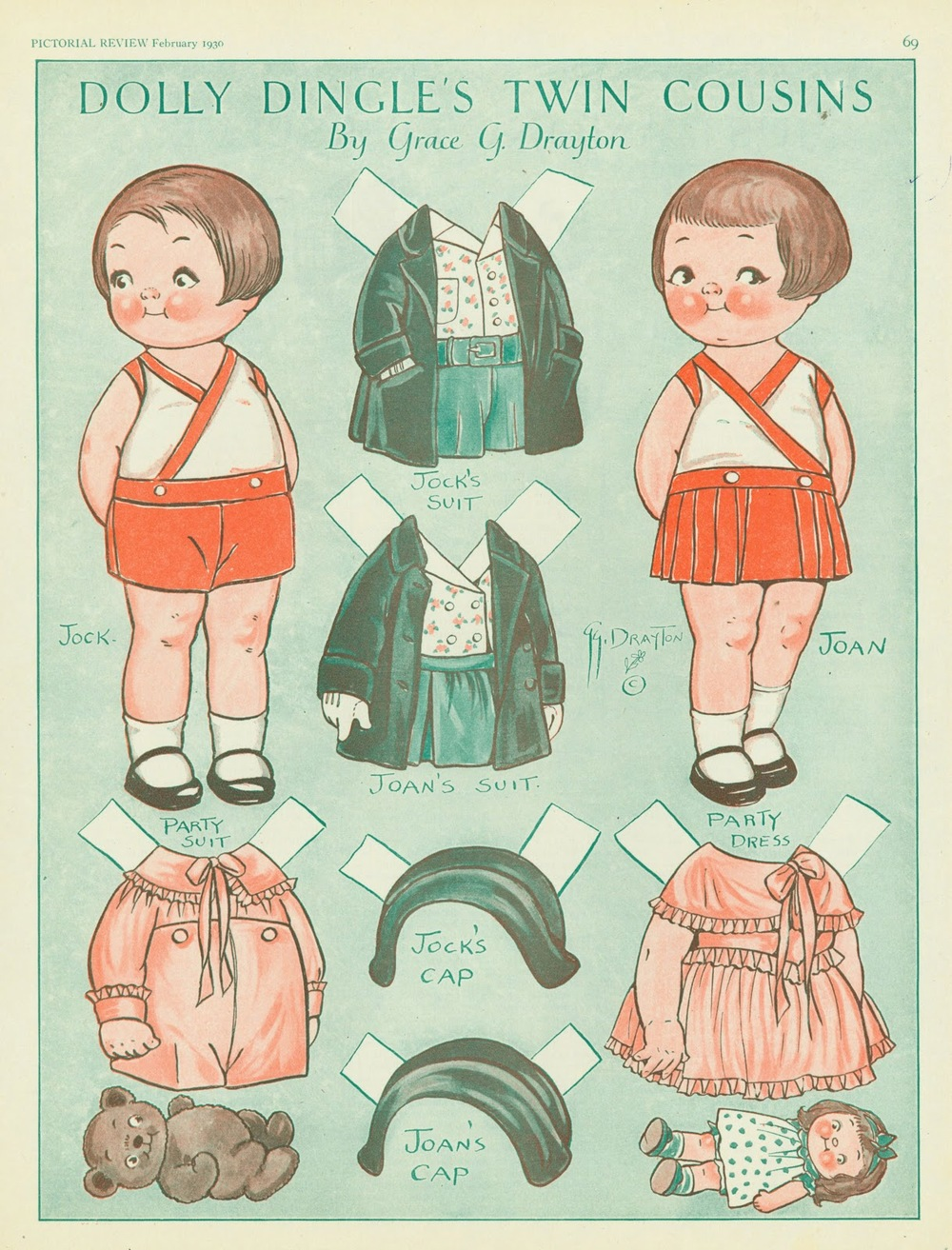Grace Drayton, Dolly Dingle Paper Dolls with Outfits. 1930.