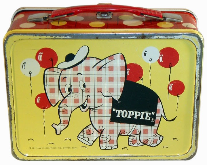 Toppie on a lunchbox. From an appreciation of Top Value ads, here.