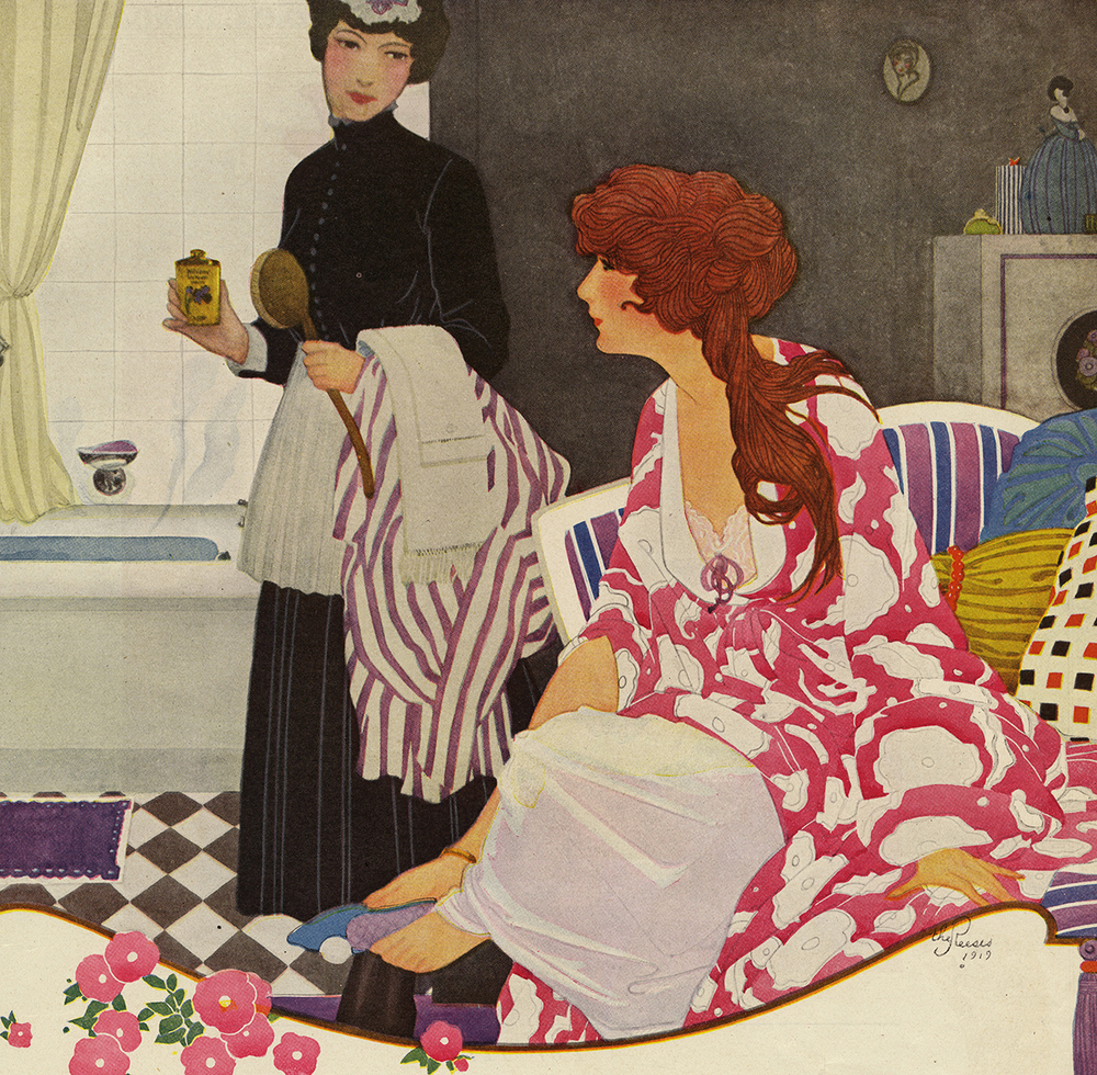 The Reeses (Emily Shaw and Walter O.), Detail, Williams Talc Advertisement, Ladies Home Journal, May 1919. From the Walt Reed Illustration Archive, Modern Graphic History Library, Washington University in St. Louis.