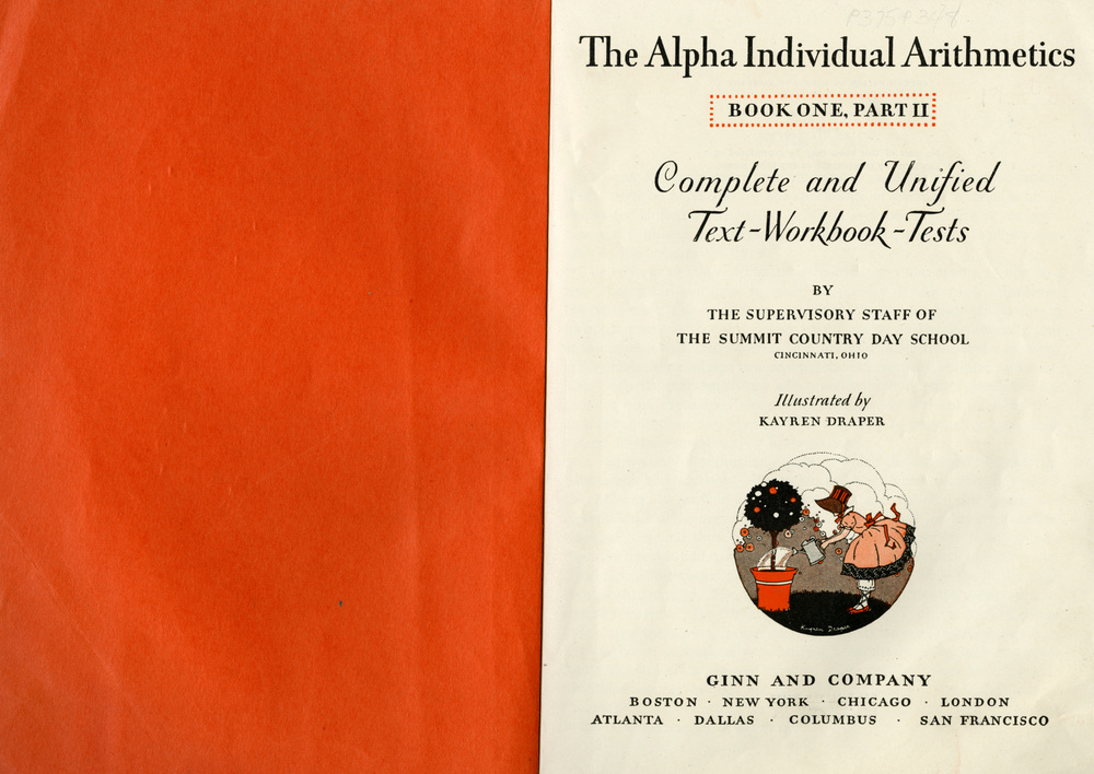 Kay Draper, Title page with spot illustration,  The Alpha Individual Arithmetics , Book One, Part II. Ginn and Company, 1929.