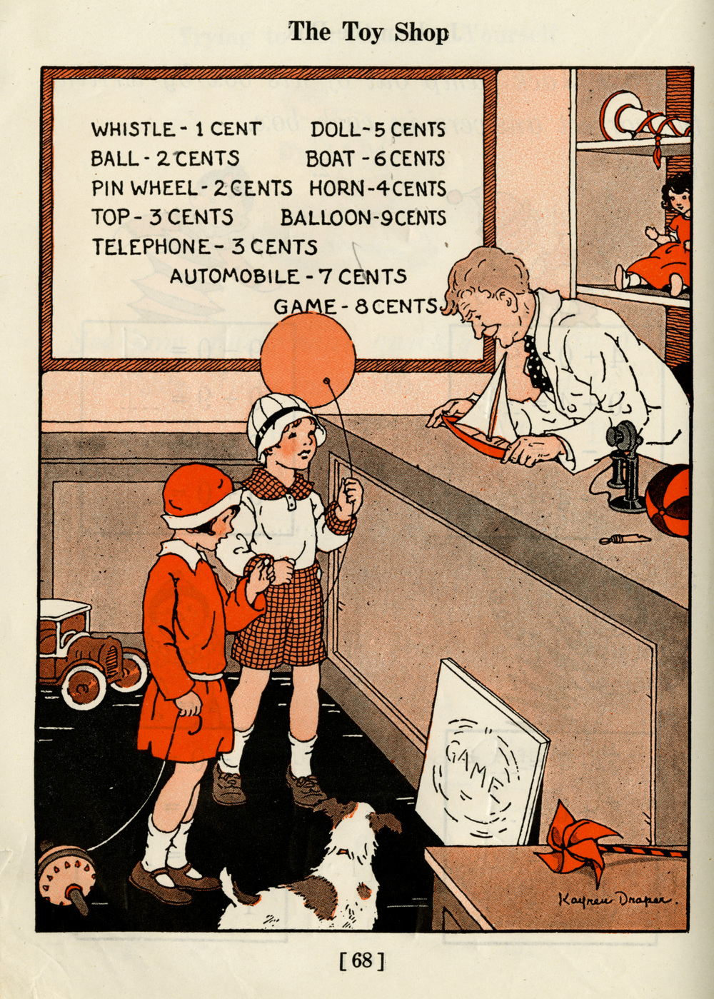 Kay Draper, The Toy Shop, from The Alpha Individual Arithmetics, 1929. Draper's two-color work for this schoolbook project is more subtly manifested, due to specifications permitting modulated optical values and tonalities.