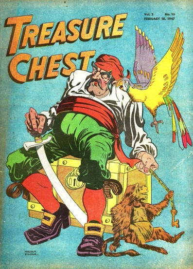 "Malcolm Kildale, cover illustration,  Treasure Chest  comics, Volume 2, No. 13, February 1947. Clara Elsene Peck had a three page comic feature in this issue devoted to the story of ""Young George Washington.""  Note: this image was acquired from the  Grand Comics Database . It is not in the Walt Reed Archive, and I have not seen the Clara Peck story referred to above."