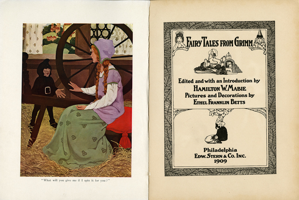 Ethel Franklin Betts, frontsipiece illustration of Rumplestiltskin with illustrated and hand-lettered title page of Fairy Tales from Grimm. 1909.