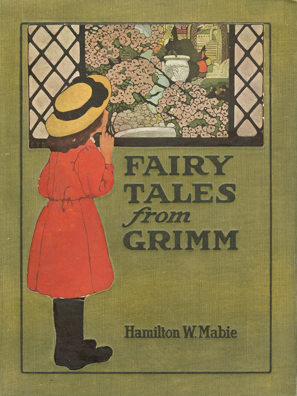 Ethel Franklin Betts, cover design for Fairy Tales from Grimm. Edited with an introduction written by Hamilton W. Mabie. Published in 1909 by Edw. Stern & Co. Inc.