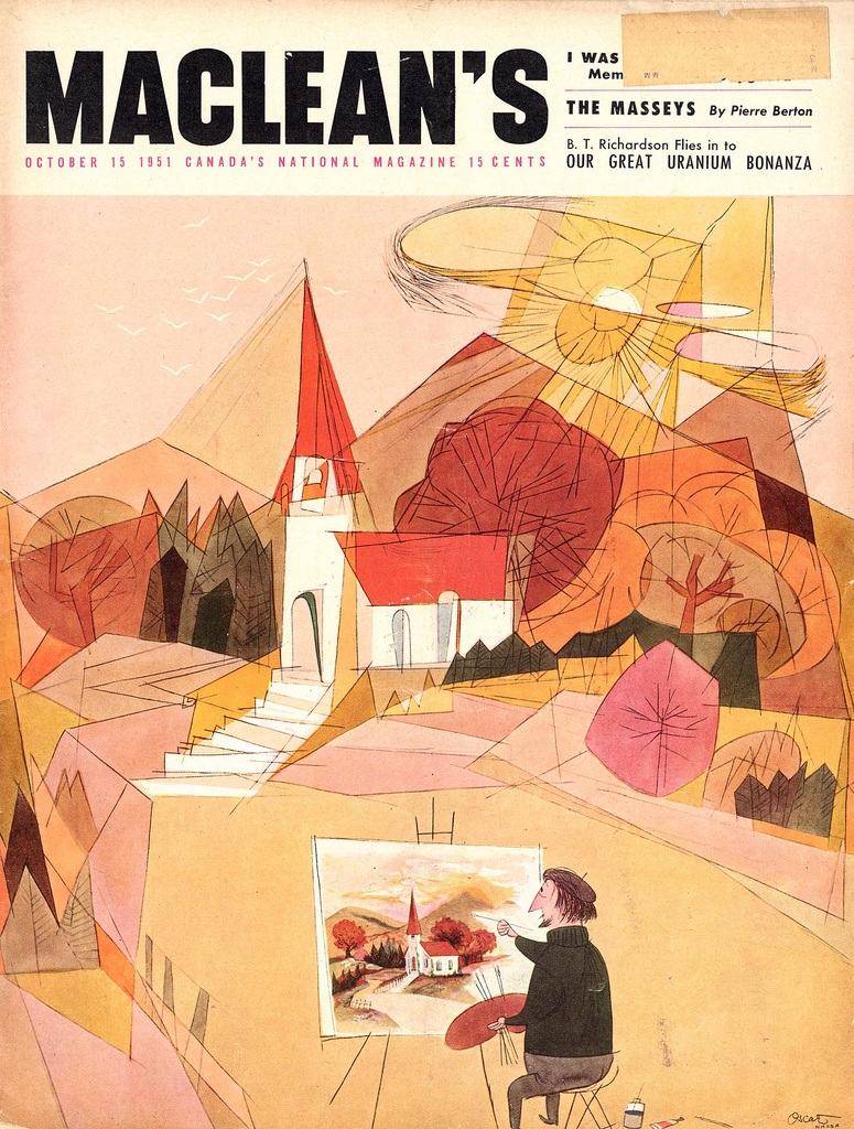Oscar Cahén, cover illustration, Maclean's Magazine, October 15, 1951. Jaleen Grove has worked at the Cahén archive, among other important projects. She has just published a monograph on Cahén's work.