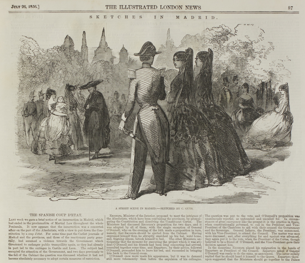Constantin Guys, Sketches in Madrid. The Illustrated London News, July 28, 1856.