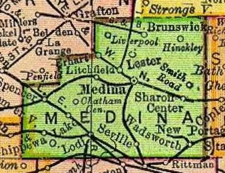 Medina County, Ohio. Note Seville, bottom center.