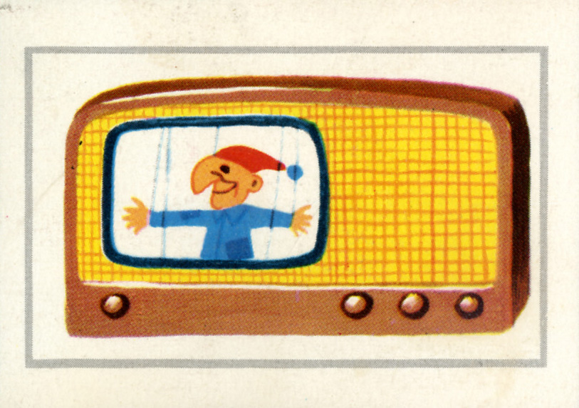 Illustrator Uncredited. Golden Funtime Punch-Out. A television that looks sort of like a radio. The puppet is the point. 1962.