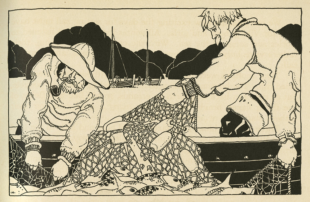 The Hollings (Holling C. Holling and Lucille Webster Holling), Netting Fish, in Children of Other Lands, Platt & Munk, 1929.