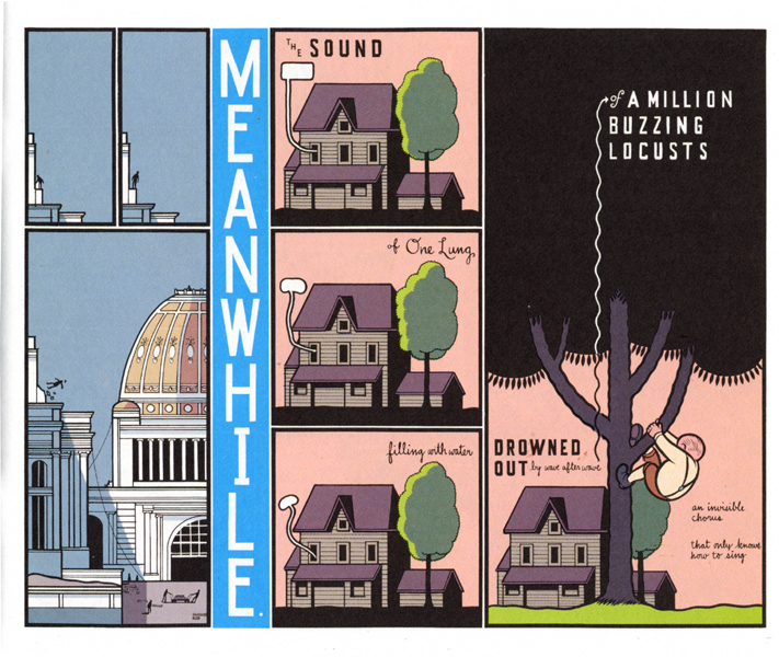 Chris Ware, Jimmy Corrigan, The Smartest Kid in the World. This serialized graphic novel tells a story in flashback. Repetition and a lovely page design communicate the passage of time.