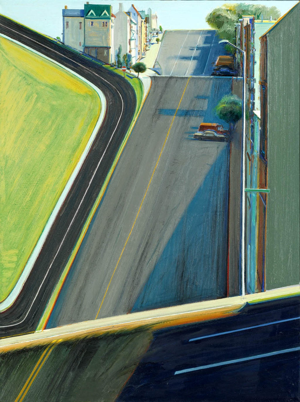 Wayne Thiebaud, Down Penn Street, 1978. The plasticity of the space is of particular interest. (Hat tip to Mike Hirshon for the citation.)