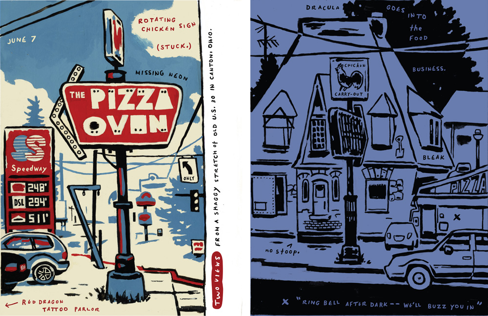 D.B. Dowd, Two Views of the Pizza Oven on West Tuscarawrus, Canton, Ohio. 2010.
