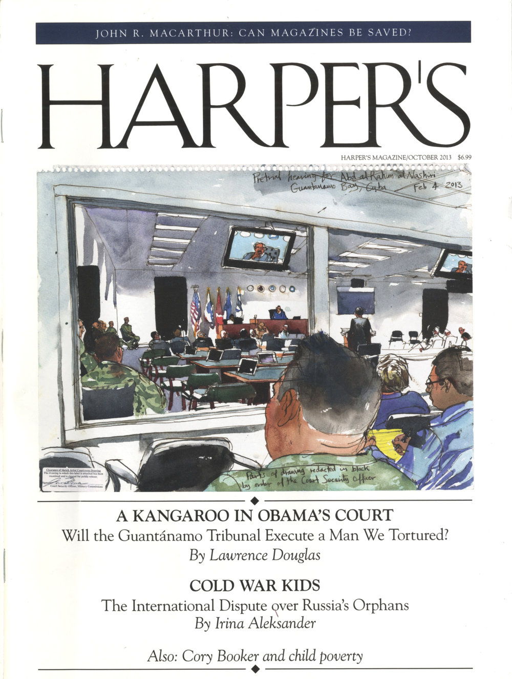 Steve Mumford, cover illustration for Harper's, October 2013. Evidence for the proposition that illustrated journalism is inching back into view–if mostly online, as opposed to print. This project is an exception. Mumford published Baghdad Journal, a book of reportage drawings he produced on location in Iraq 2003-04, with Drawn & Quarterly, in 2006.