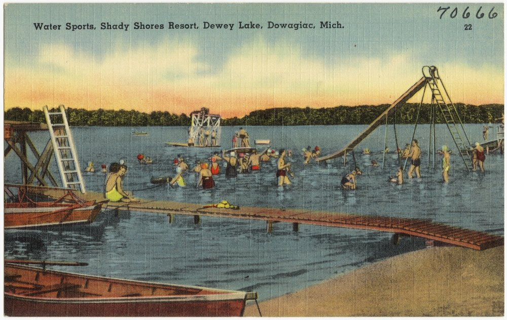Tinted Photograph Postcard, Shady Shores Resort, Dowagiac, Michigan, circa 1940. The Dowd family began vacationing here in 1938. My Uncle Jim and Aunty Betty Dowd continued this uninterrupted tradition with their own children, which continues to the present day.