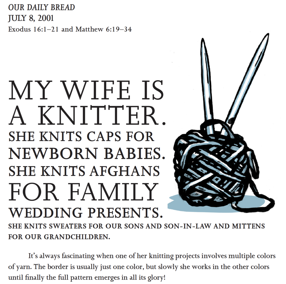 Susan Ellsworth, page design, D.B. Dowd, illustration,  In Pursuit of God's Kingdom . Each of Jim's sermons got a launch like this one, with all-cap Joanna type and a two color image. This sermon, one from a series on the Lord's Prayer draws on my Aunt Betty's prodigious and skillful weaving to make its point.